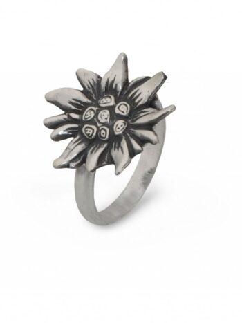 сребърен-пръстен-слънчоглед-еделвайс-877R