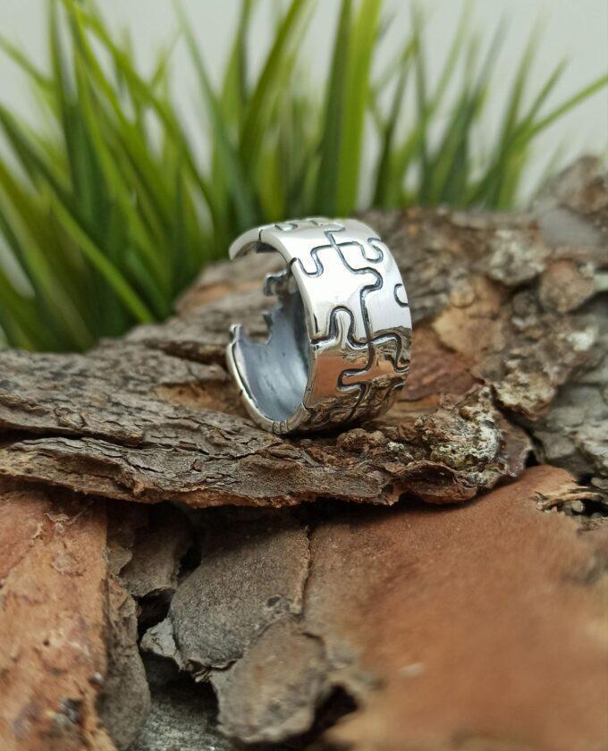 Дамска сребърна халка 218R във вид на пъзел Студио Николас Красив дамски пръстен от сребро с проба 925