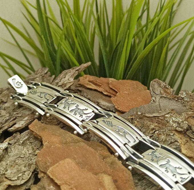 Масивна сребърна гривна 326B за мъж бижу на Студио Николас Прецизно изработена