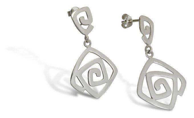Висящи дамски сребърни обеци на щифт с прецизна ръчна изработка от сребро проба 925 419E на Студио Николас арт бижута за жени 2