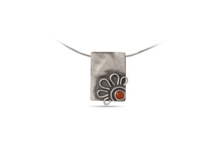 дамски-сребърен-медальон-карнеол-1307M