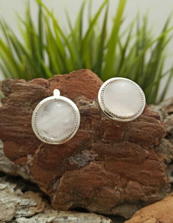 Дамски сребърни обеци модел с розов кварц 1378E Прецизна ръчна изработка от Студио Николас английско закопчаване