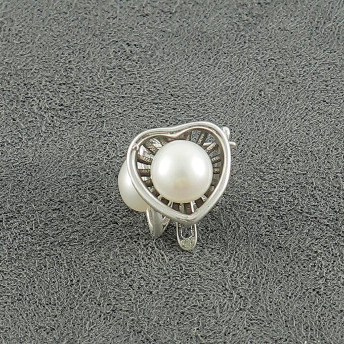 Дамски сребърни обеци с речна перла 1384E с прецизна ръчна изработка от Студио Николас