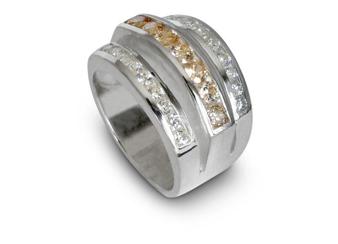 Дамски сребърен пръстен с циркони 158R