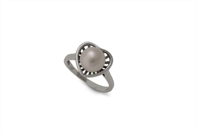 сребърен-пръстен-сърце-перла-1382R