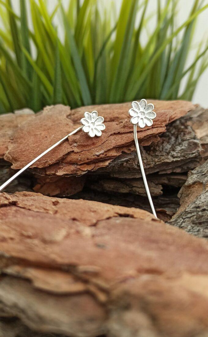 Висящи дамски сребърни обеци ЦВЕТЕНЦЕ на върбило с ръчна изработка от сребро с проба 925 модел 1344E Студио Николас