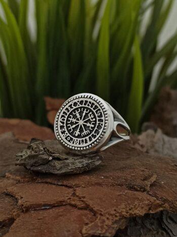 """Сребърен-пръстен-""""VEGVIZIR-1418R-с-изобразен-исландски-символ-известен-още-като-викингски-компас"""