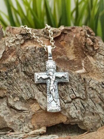 Сребърен двулицев кръст 1222M Студио Николас сребърна бижутерия за мъже и жени