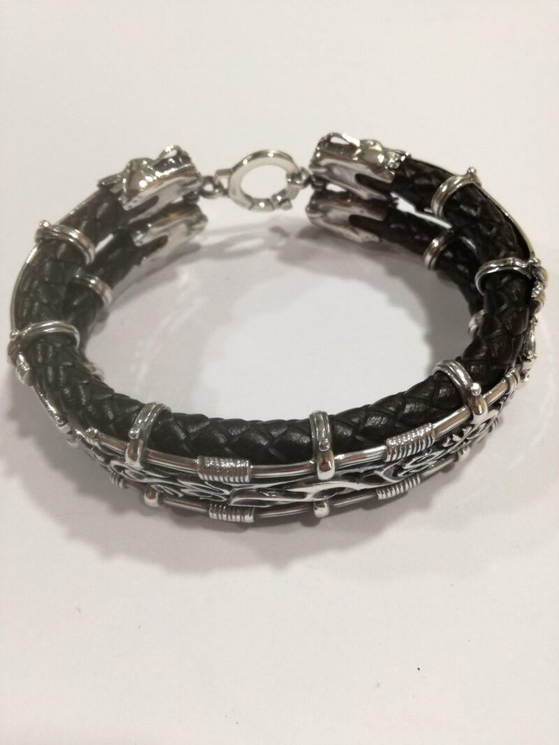 сребърна-гривна-кожа-423B