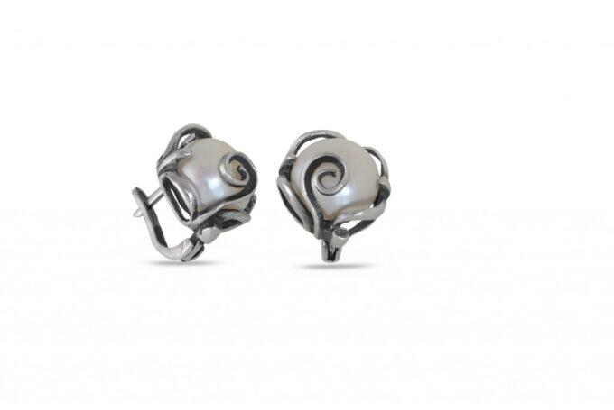 сребърни-обеци-перла-1121E
