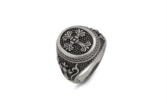 сребърен-пръстен-герб-кръст-1389R