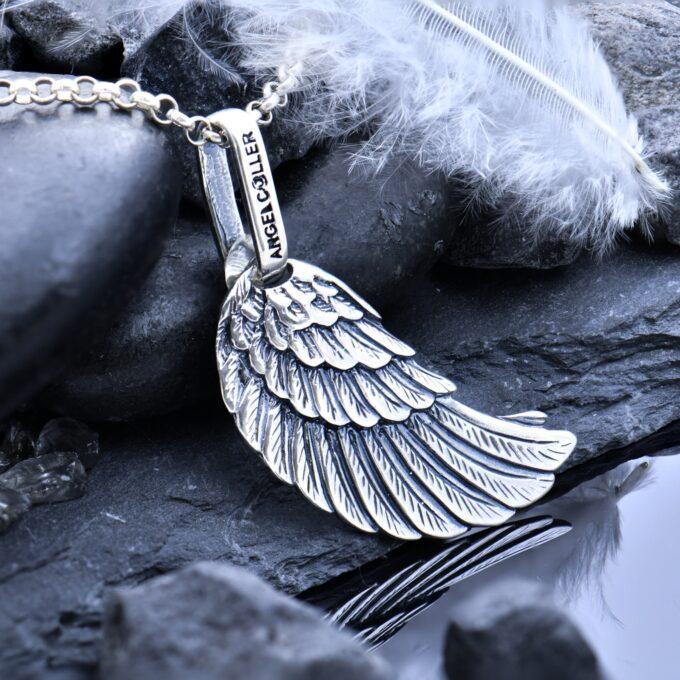 Дамски сребърен медальон Крило на Ангел ръчно изработен 27A от Студио Николас