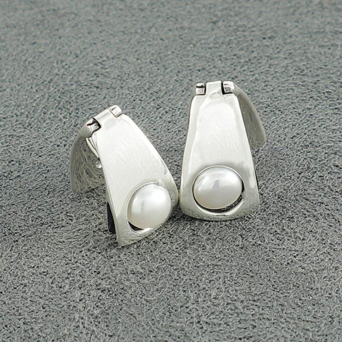 Дамски сребърни обеци с речна перла 1072E