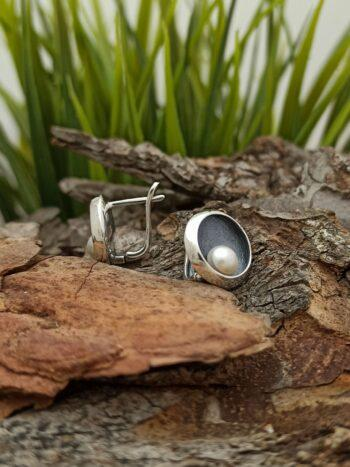 Дамски сребърни обеци с речна перла 1322E ръчна изработка Студио Николас