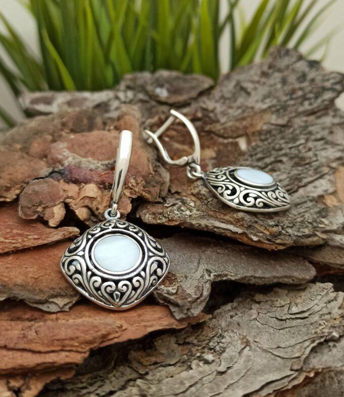 Масивни дамски сребърни обеци 1396EB със седеф бижута от сребро и седеф Studio Nikolas