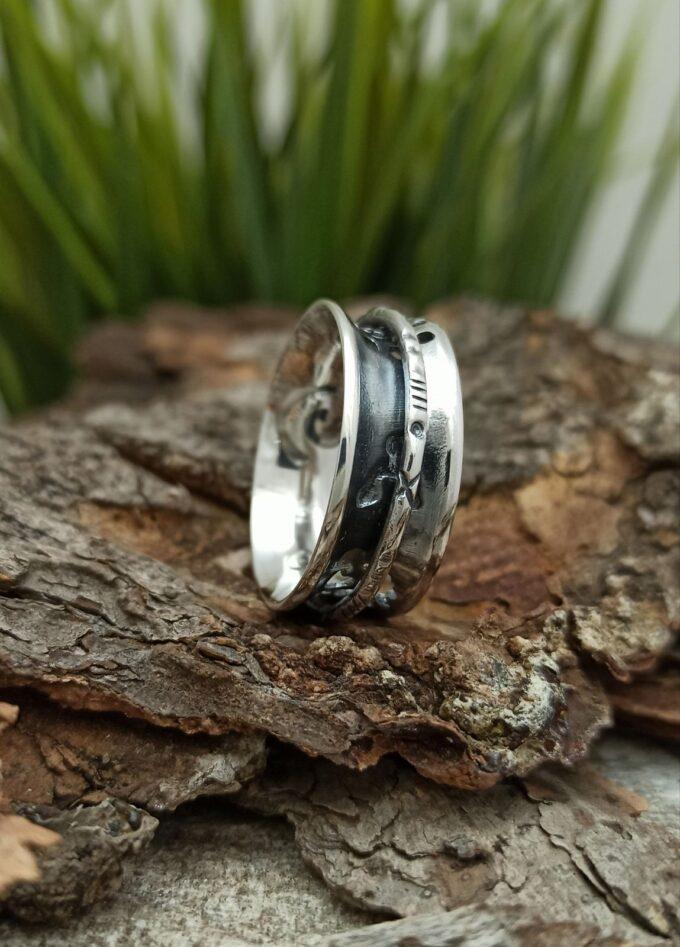Мъжки сребърен пръстен 473T от трайбъл серията на Nikol@s халка с отвори с прецизна Ръчна изработка Унисекс пръстен сребро проба 925