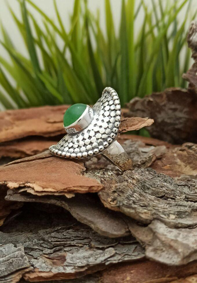 Елегантен сребърен пръстен с авантюрин 1393RA в бохо стил Студио Николас