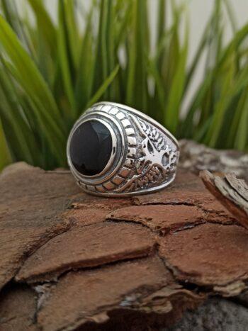 Мъжки сребърен пръстен с черен емайл 955R студио николас