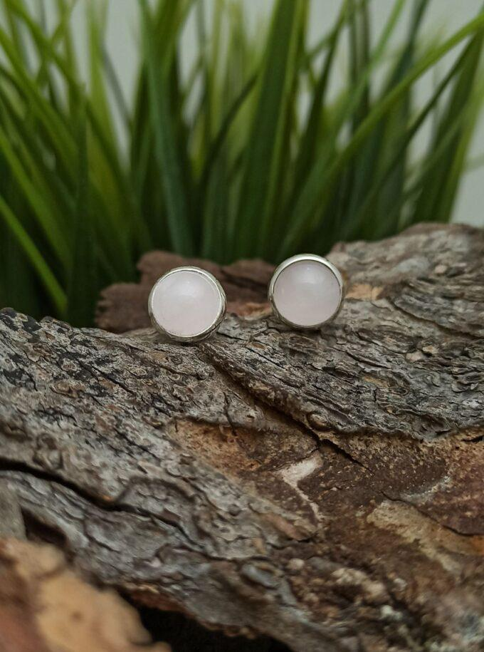Сребърни обеци 1129EK в кръгла форма с розов кварц и обков от Сребро с проба 925 Sterling Silver