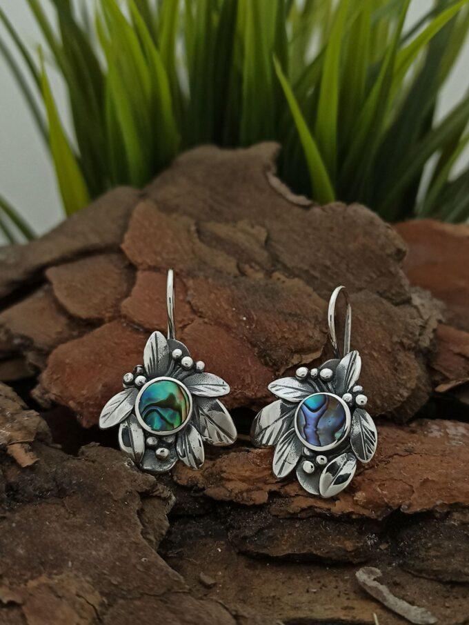 Дамски сребърни обеци с кралски седеф 1353ES