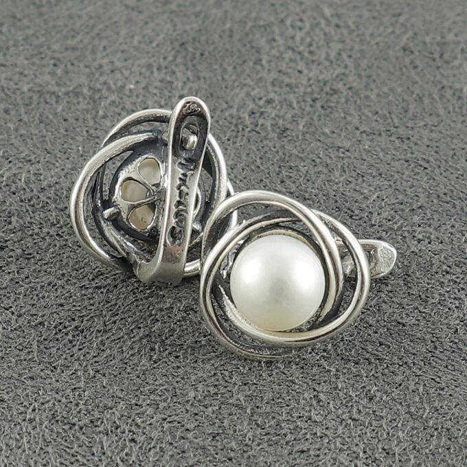 Сребърни обеци 1202E с култивирани бели перли Студио Николас