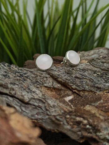 Сребърни обеци 1129EK в кръгла форма с розов кварц и обков от Сребро с проба 925 Sterling Silver 1