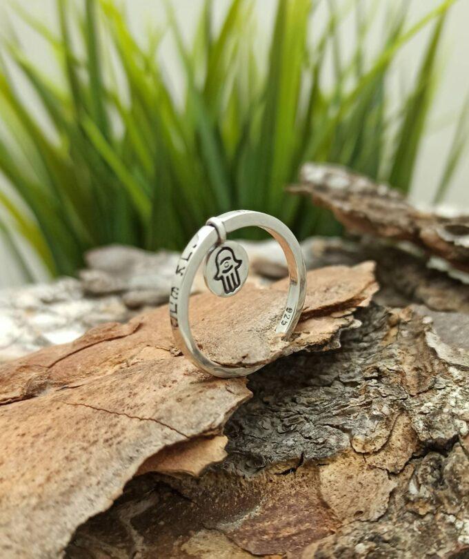 KABBALAH пръстен ХАМСА 1496R l1 амулет от сребро за защита от зли очи и уроки Студио Николас