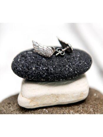 Обеци от сребро Крила на Ангел с бял родий ANGEL C@LLER Николас