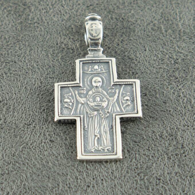 Сребърен-двулицев-кръст-с-молитва-413M-бижутерия-Студио-Николас-1