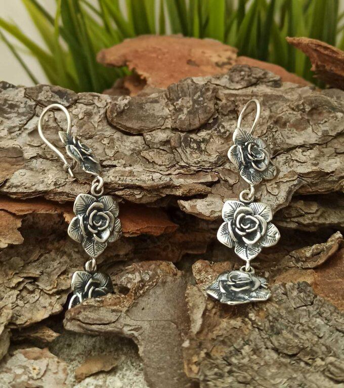 Висящи сребърни обеци Нежна роза сребърна бижутерия Николас
